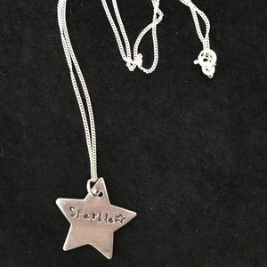 "Pewter star pendant with 16"" sterling silver chain"